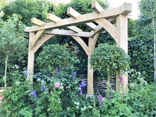 OAK PERGOLA HANDMADE Corner Gazebo Wood Garden Furniture