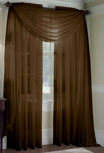 SET OF 2 SHEER VOILE CURTAINS 84 LONG BROWN EBay