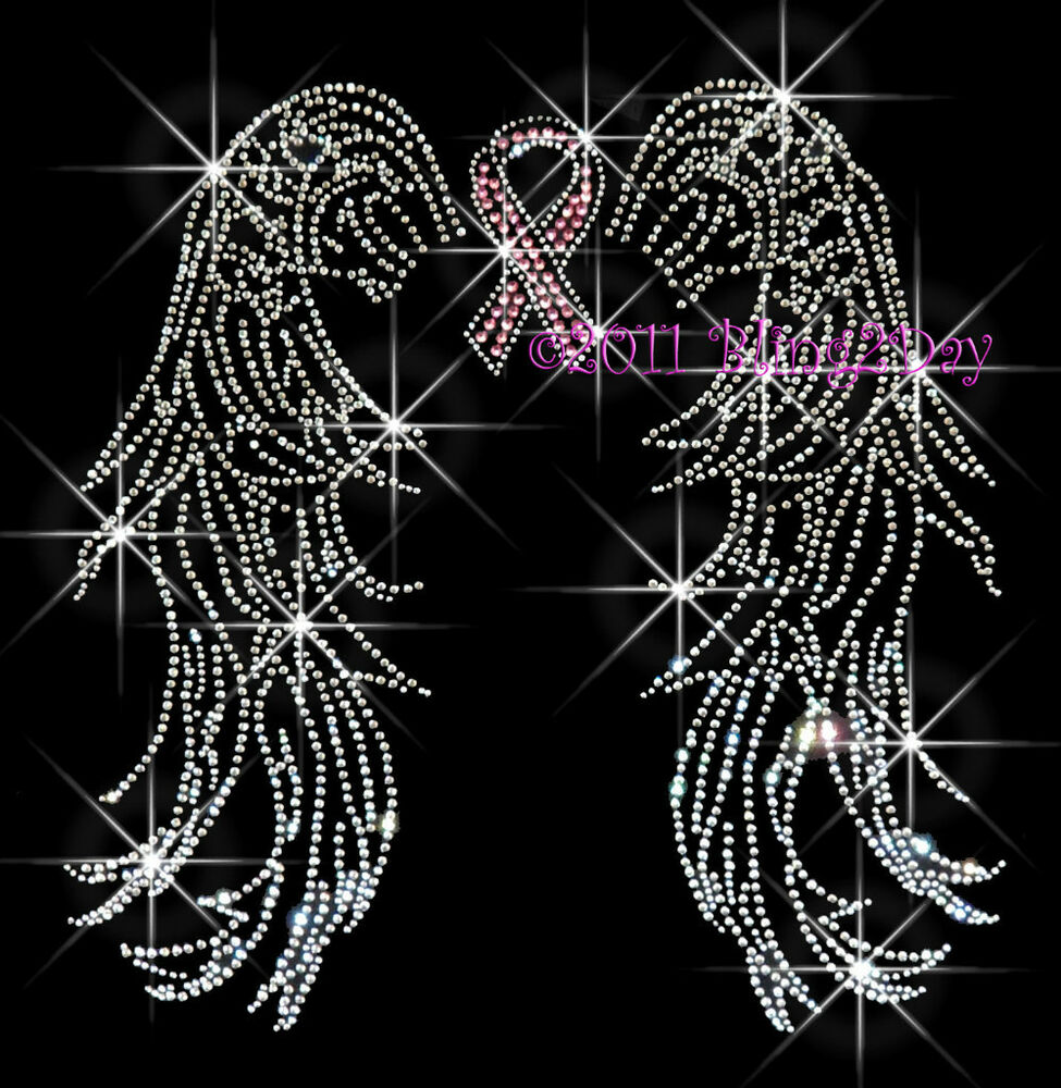 BREAST CANCER ANGEL WINGS RHINESTONE IRON ON TRANSFER EBay