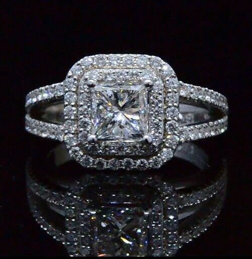 176 Ct Princess Cut Diamond Double Halo U Setting 14K