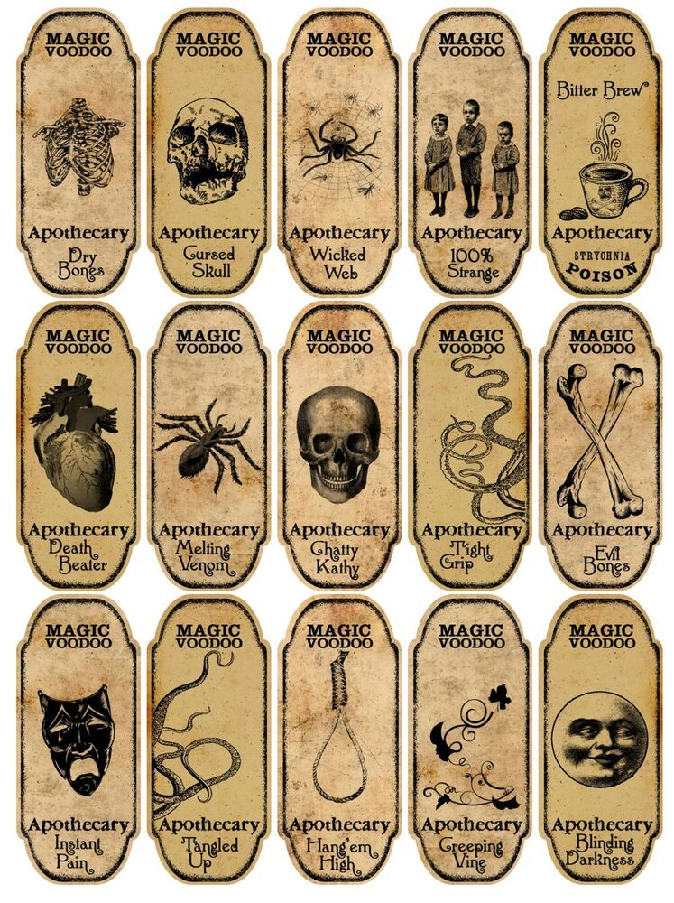 voodoo apothecary bottle labels stickers scrapbooking crafts ebay