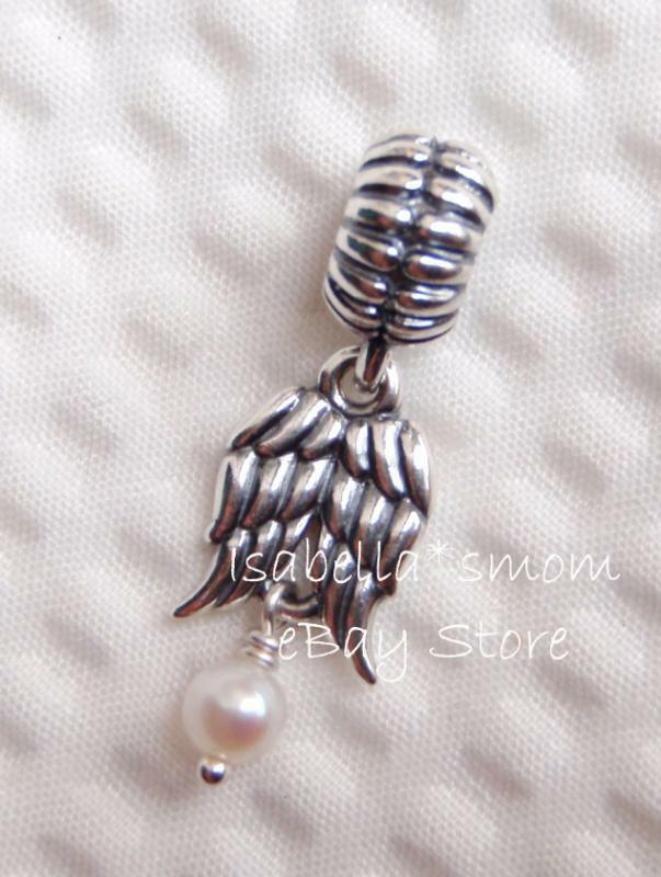 NEW Authentic PANDORA White Pearl GUARDIAN ANGEL Wings DANGLE CharmBead 790975P EBay