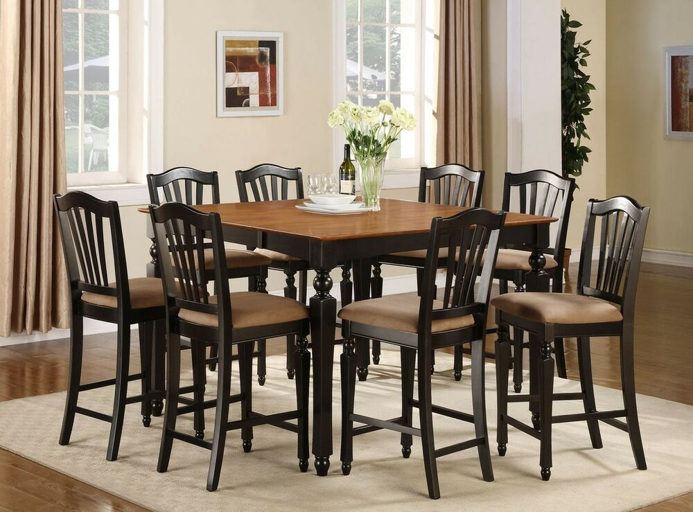 Chelsea 7pc Set Counter Height Table 6 Microfiber Padded