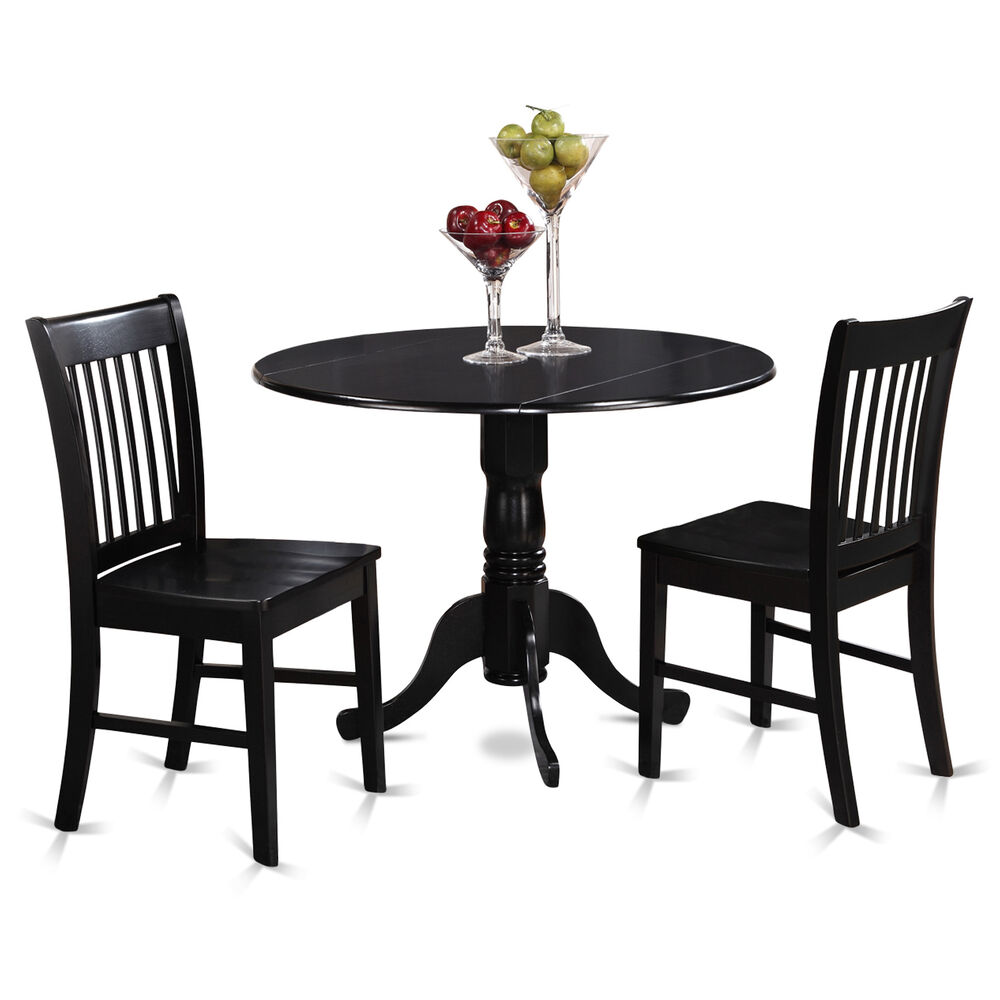 3PC SET, ROUND DINETTE KITCHEN DINING TABLE With 2 WOOD