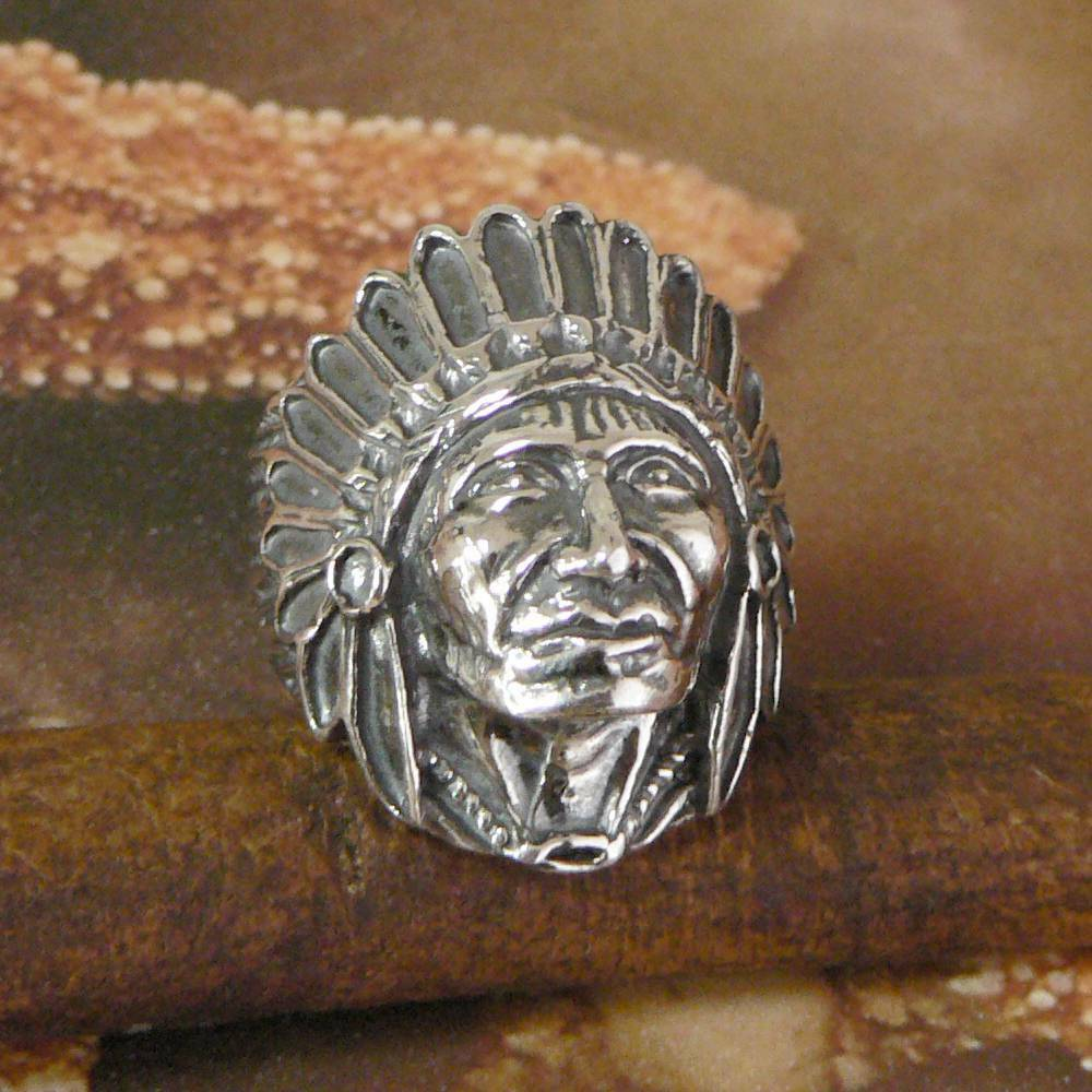 STERLING SILVER INDIAN CHIEFTAIN HEAD RING SOLID 925 NEW