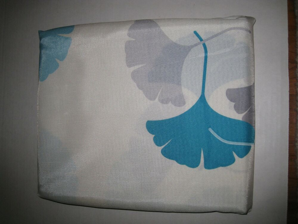 Ansley Turquoise Aqua Gray Contemporary Floral Fabric Shower Curtain NEW EBay