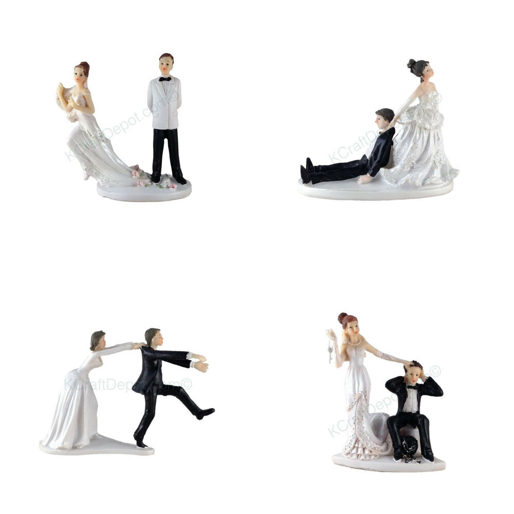 Funny Polyresin Figurine Wedding Cake Toppers Bride Groom
