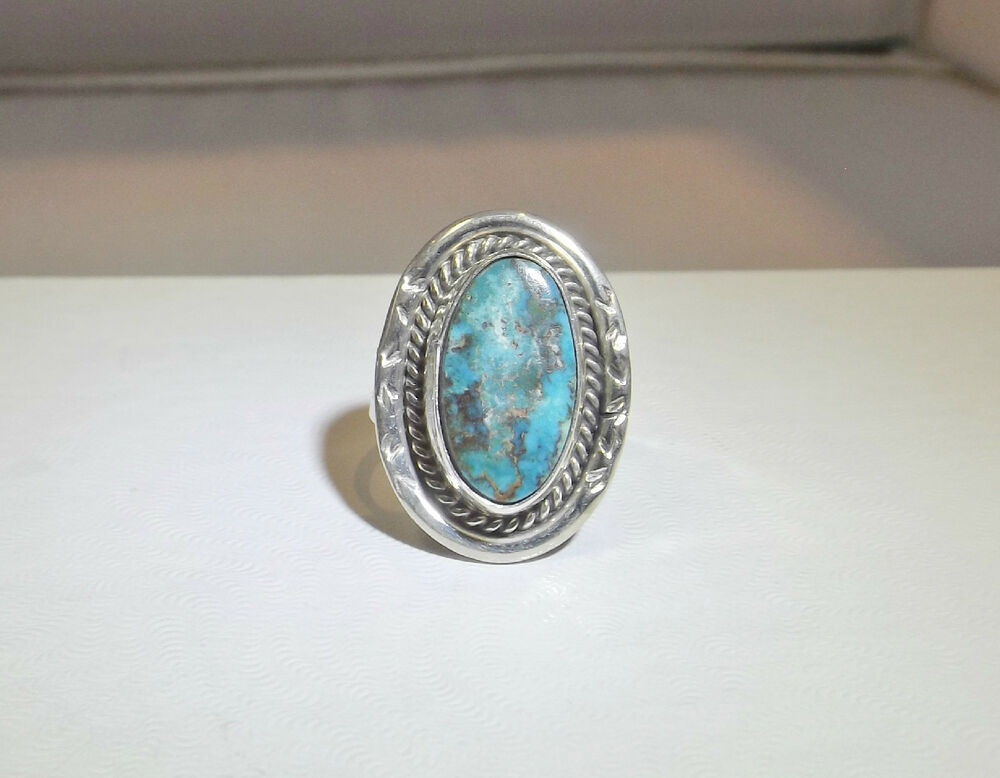 Native American Womens Ring Sterling Silver Turquoise Blue EBay