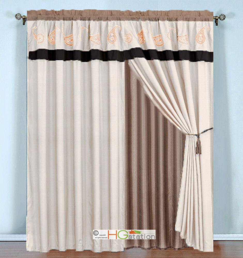 4 Pc Paisley Floral Embroidery Curtain Set Brown Khaki Beige Valance Sheer Liner EBay