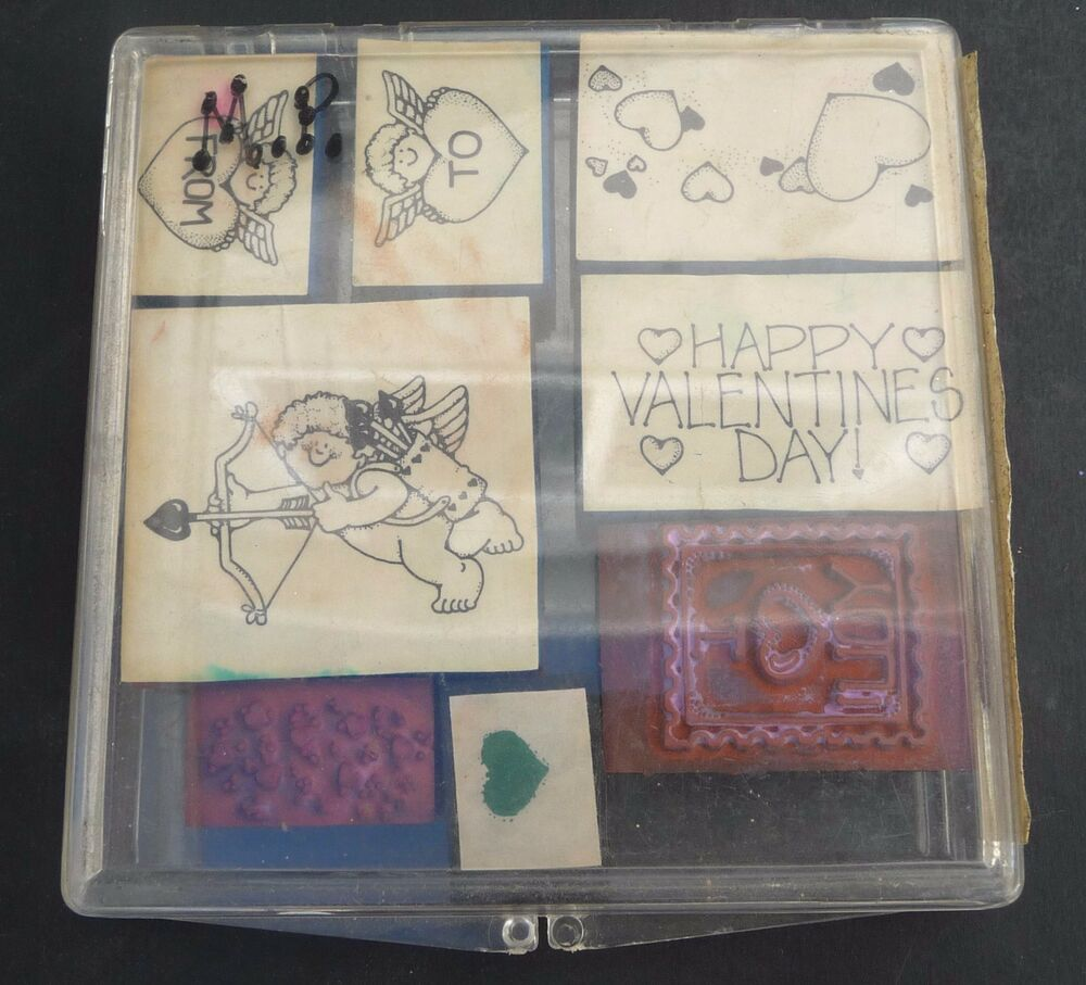 Stampin Up Very Valentines Set Lot Of 8 Hearts Cupid