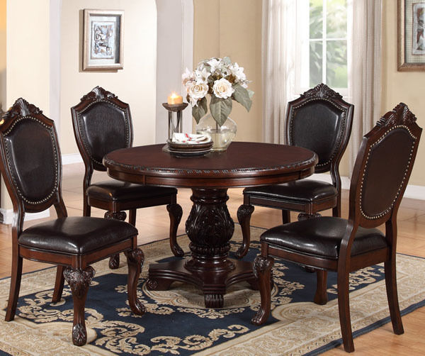 Round Dark Table Wood
