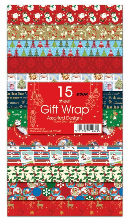 NEW15 SHEETS CHRISTMAS GIFT WRAP WRAPPING PAPER ASSORTED