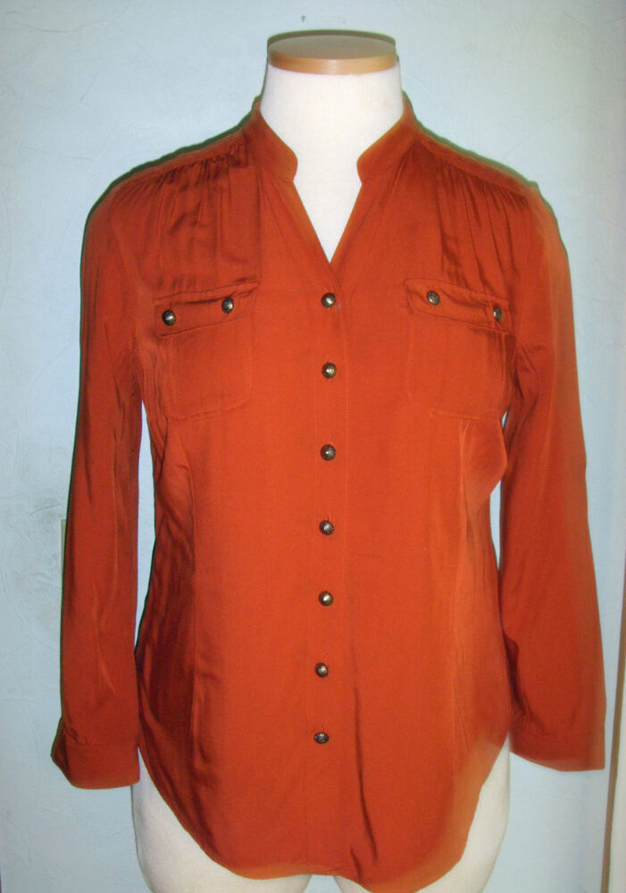 C J Banks Rust Colored Blouse Rool Up Sleeves Braid Detail Pockets MSRP 5550 EBay