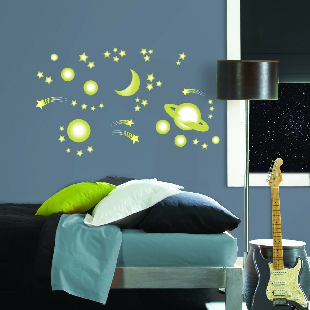SPACE STARS 46 BiG Wall Stickers Glow In The Dark PLANETS Decor Decals MOON BR1 EBay