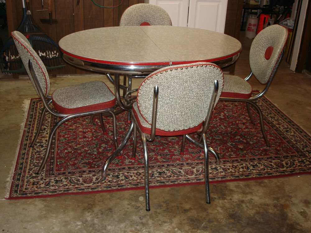 Vintage Mid Century Modern Retro Chrome Dinette Set Table Chairs Red And Grey EBay