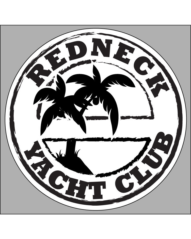 BLACK REDNECK YACHT CLUB Decal 35 X 35 Fishing Boater