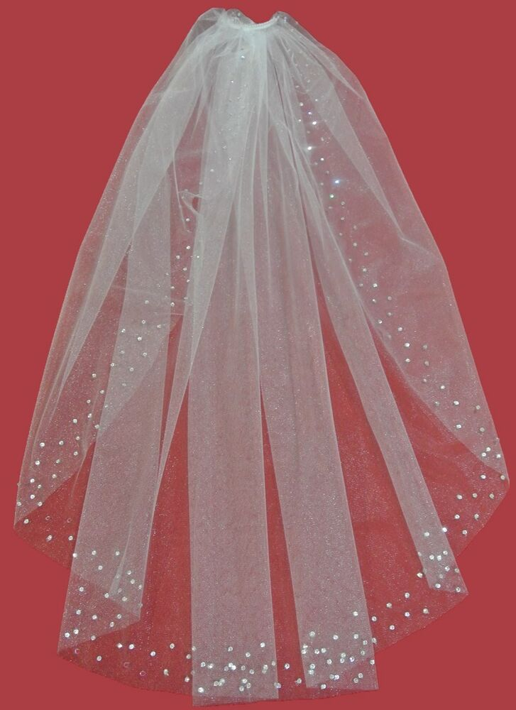 Swarovski Crystal Rhinestones Cut Edge Wedding Bridal Veil