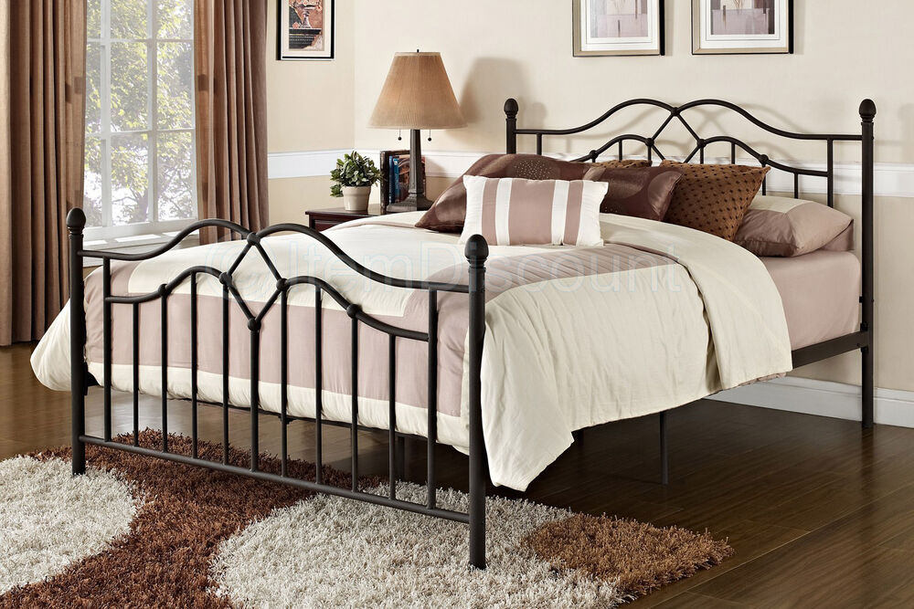 Queen Bronze Metal Platform Bed Frame Foundation Head Foot