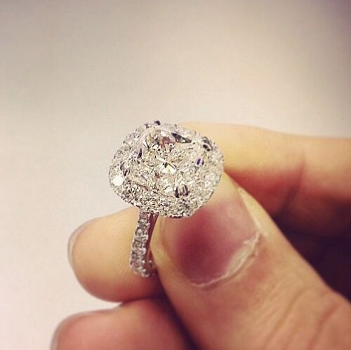 190 Ct Natural Cushion Cut Halo Pave Diamond Engagement