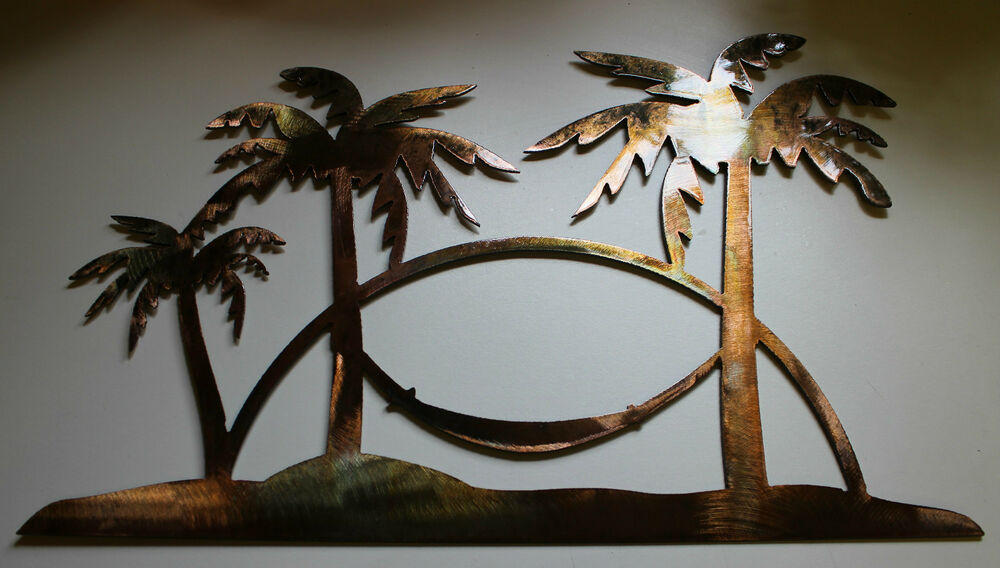 Tropical Palm Tree Scene Metal Art Decor