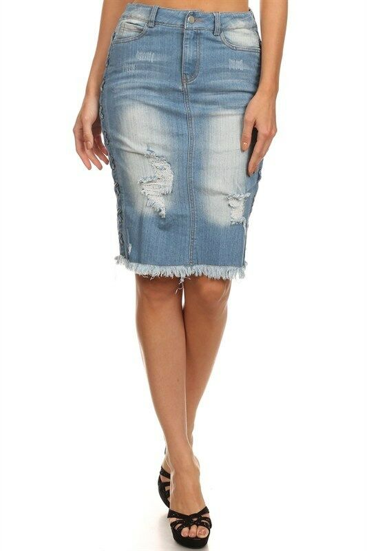 Ripped Denim Jean Skirt