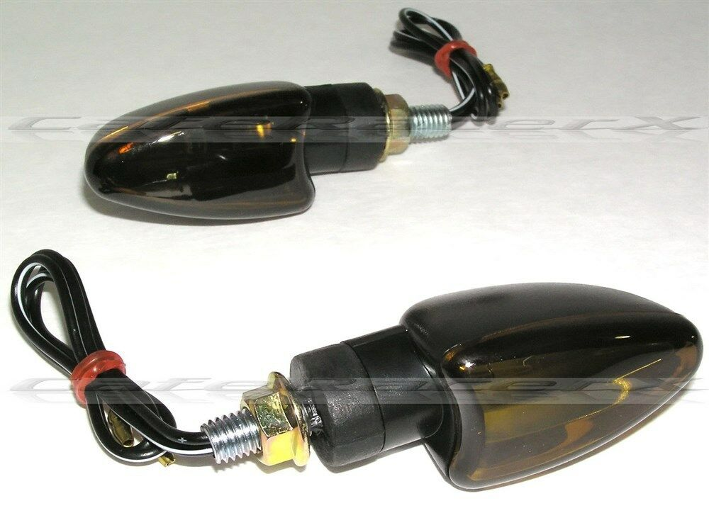 Black Smoked Amber Lens Arrow Motorcycle Turn Signals 2
