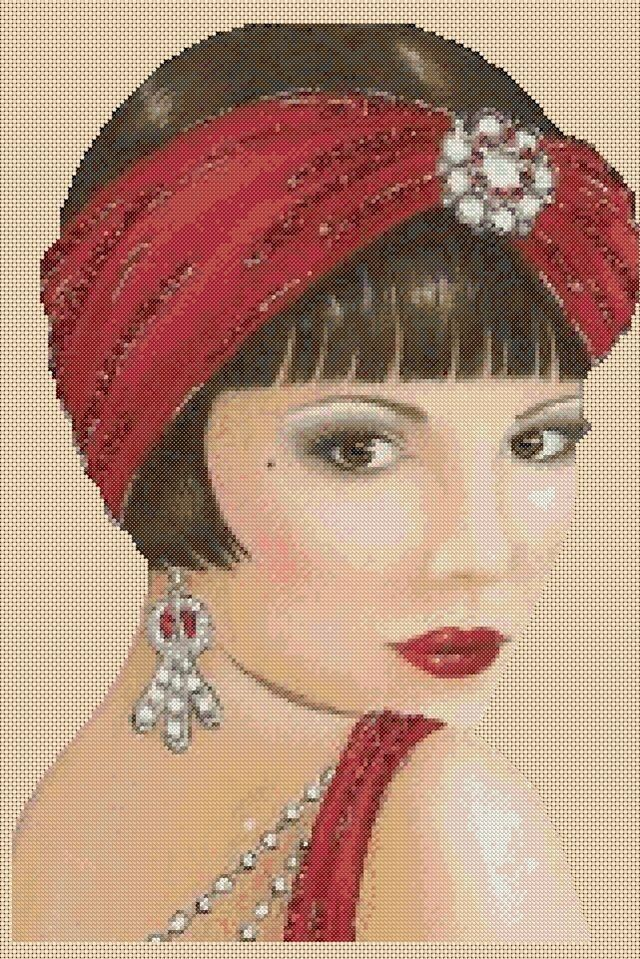 Counted Cross Stitch ART DECO LADY WRed Head Scarf