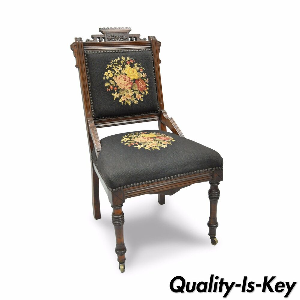Antique Victorian Needlepoint Chairs