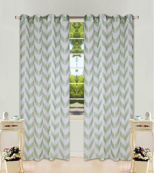 CHEVRON STRIPE SAGE GREEN GROMMET VOILE SHEER WINDOW CURTAIN 1PC 2 TONE PANEL EBay