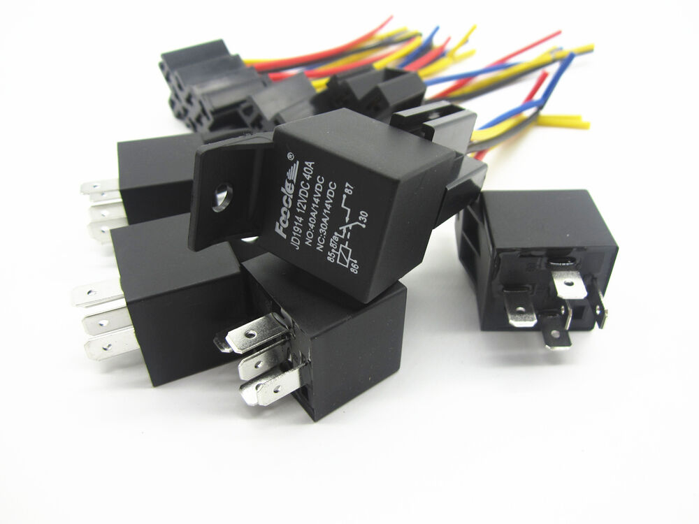 Car SPDT Automotive Relay 5Pcs 5 Pin 5 Wires W/Harness