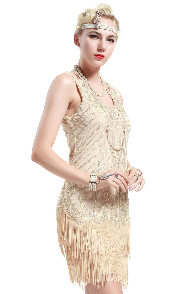BABEYOND Womens Flapper Dresses 1920s V Neck Beaded ...