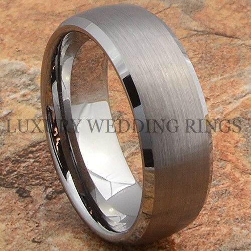 Tungsten Ring Mens Wedding Band Matte Titanium Color