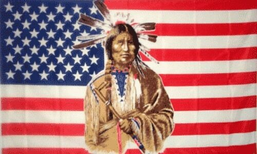 Native American Indians And American Flag