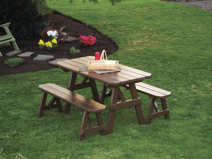 Outdoor 6 Foot Picnic Table With 2 Benches 8 Paint Colors