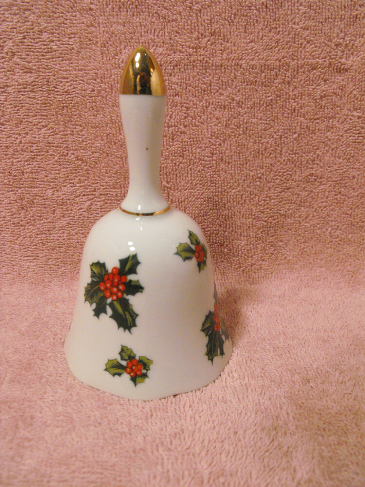 LEFTON CHINA HAND PAINTED CHRISTMAS BELL 7944 HOLLY