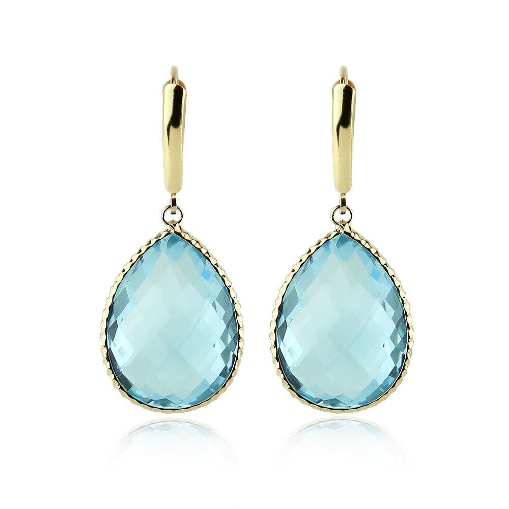 14K Yellow Gold Gemstone Earrings With Large Pear Shaped