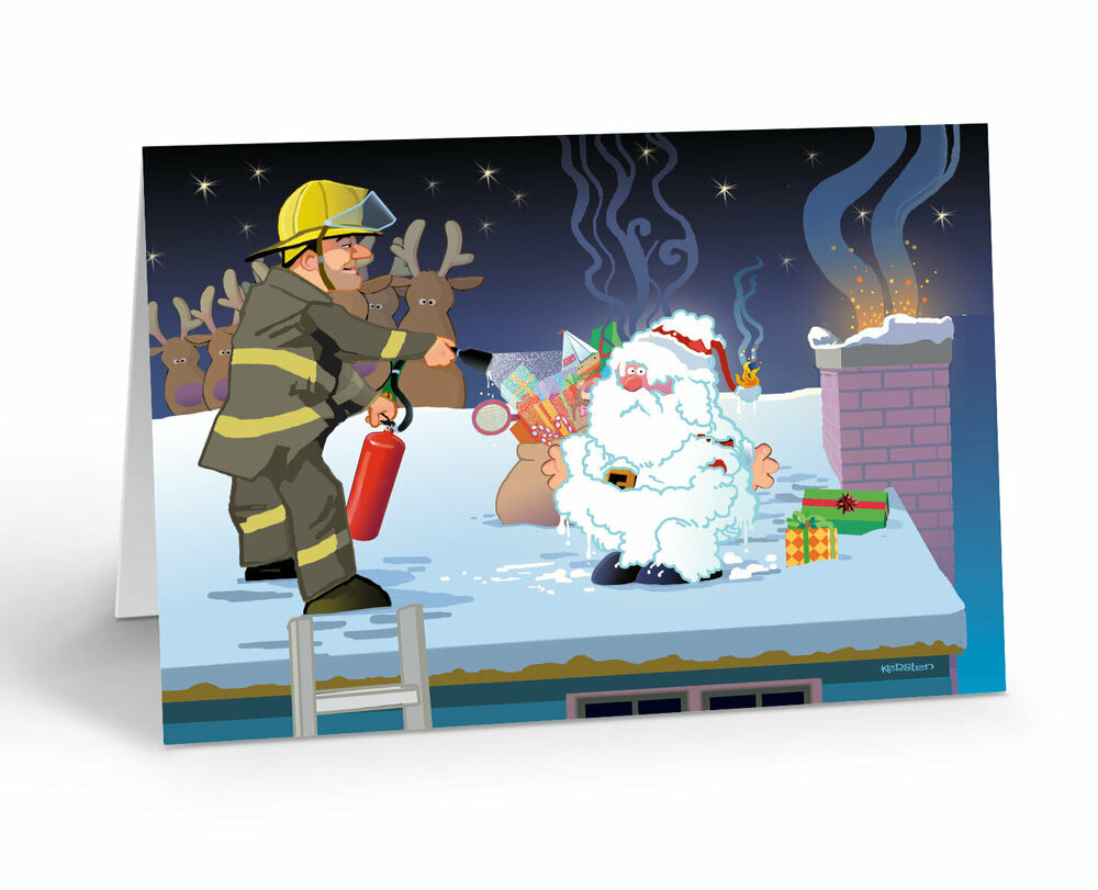 Funny Firefighter Theme Christmas Card 18 Cards