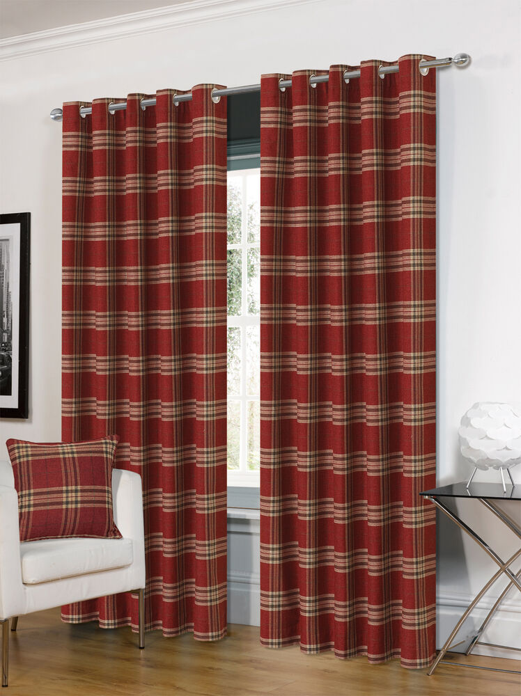 THICK DELUXE THERMAL WINE TARTAN CHECK MODERN RING TOP EYELET HUGO CURTAINS EBay