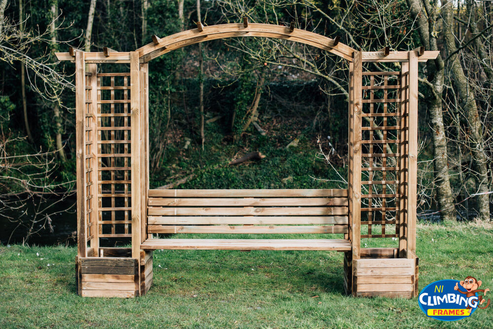 Wooden Arched Pergola With Seating Amp Chimney Garden Heavy
