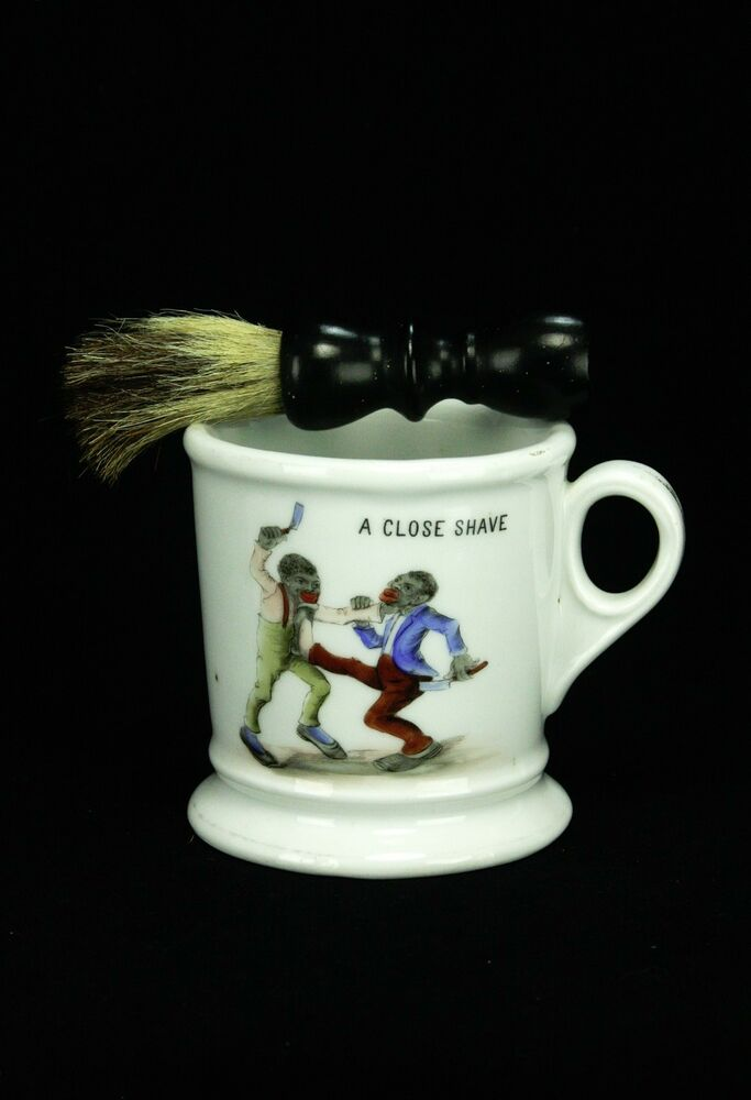 Antique German KPM Shaving Mug With Black Figures Ca1880 EBay