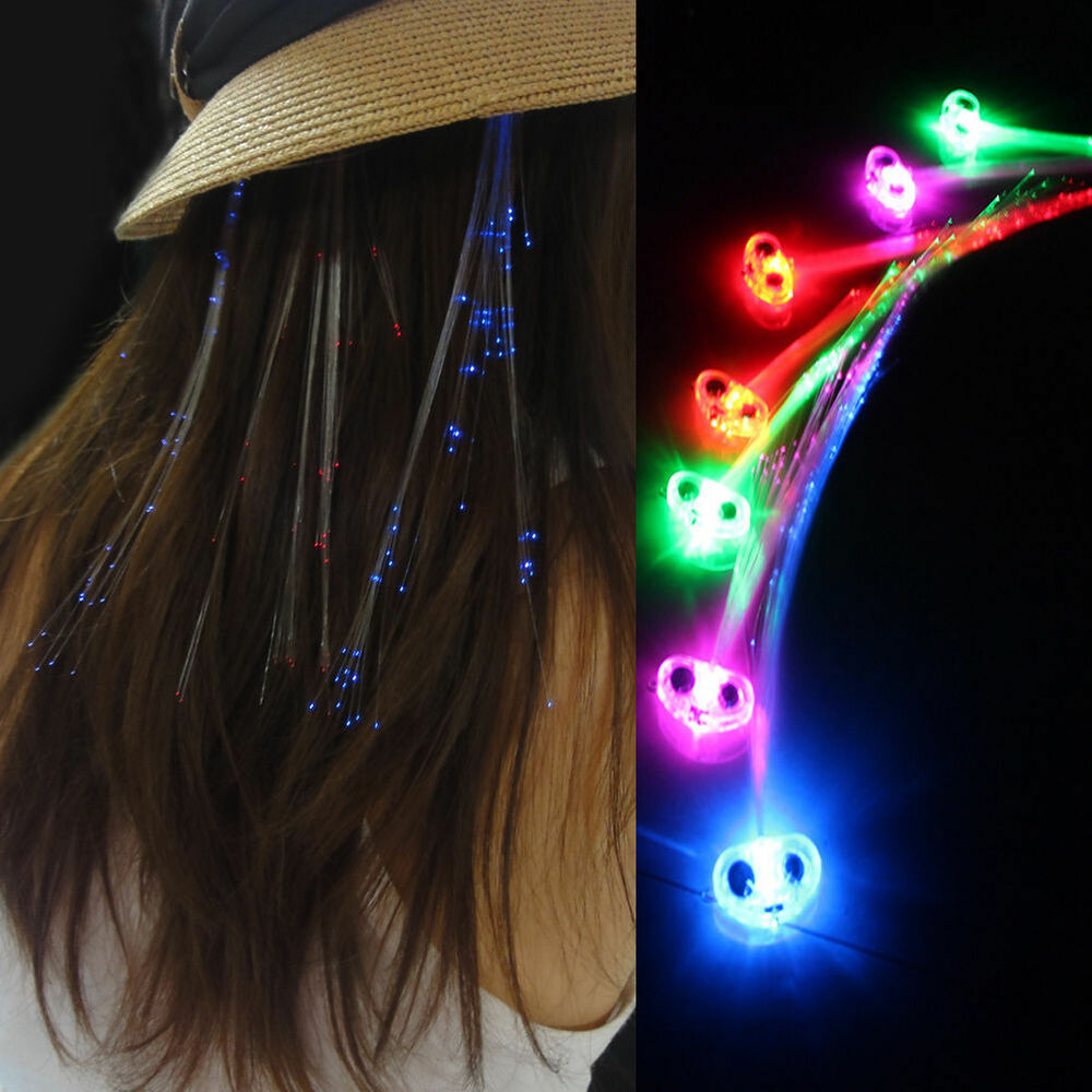 New Light Up Hair Clip Extensions LED Costume Flashing