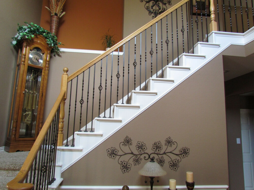Iron Balusters Iron Stair Parts Stair Railing Metal | Black Metal Spindles For Staircase