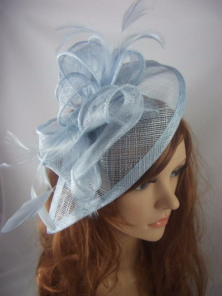 Pale Blue Teardrop Sinamay Fascinator With Feathers