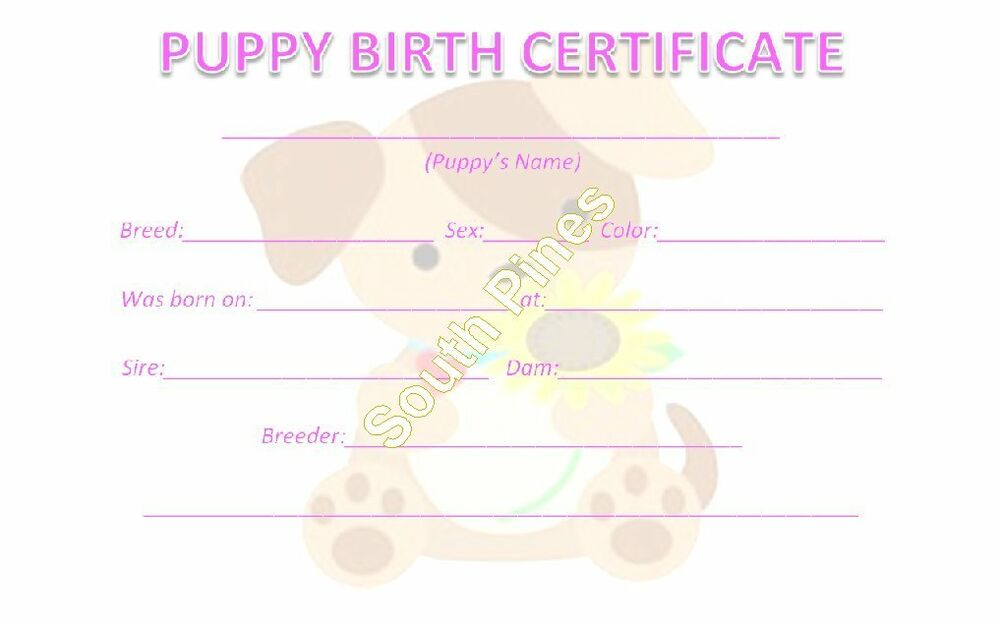 Dog Birth Certificate Template Printable