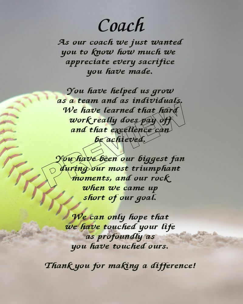 TO OUR SOFTBALL COACH PERSONALIZED PRINT POEM END OF THE