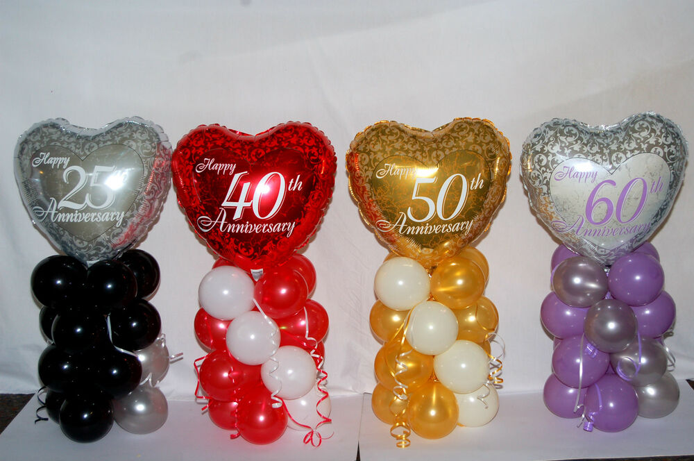 25TH 40TH 50TH 60TH ANNIVERSARY FOIL BALLOON TABLE