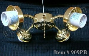 Ceiling Fan Light Kit 4 Four Arm Polished Brass Pull Chain