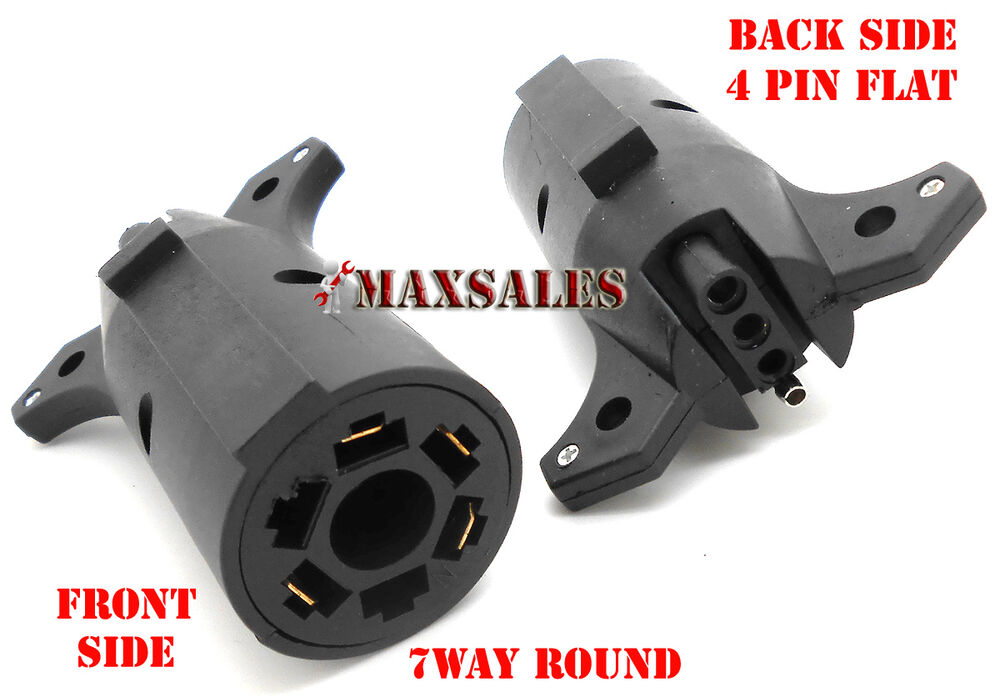 7 Way Trailer Light Adapter Plug Connector Round To 4 Pin