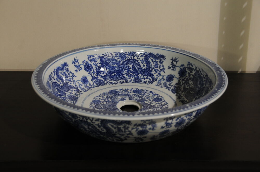 18 BATHROOM VANITY SINK BOWL VESSEL BLUE AND WHITE