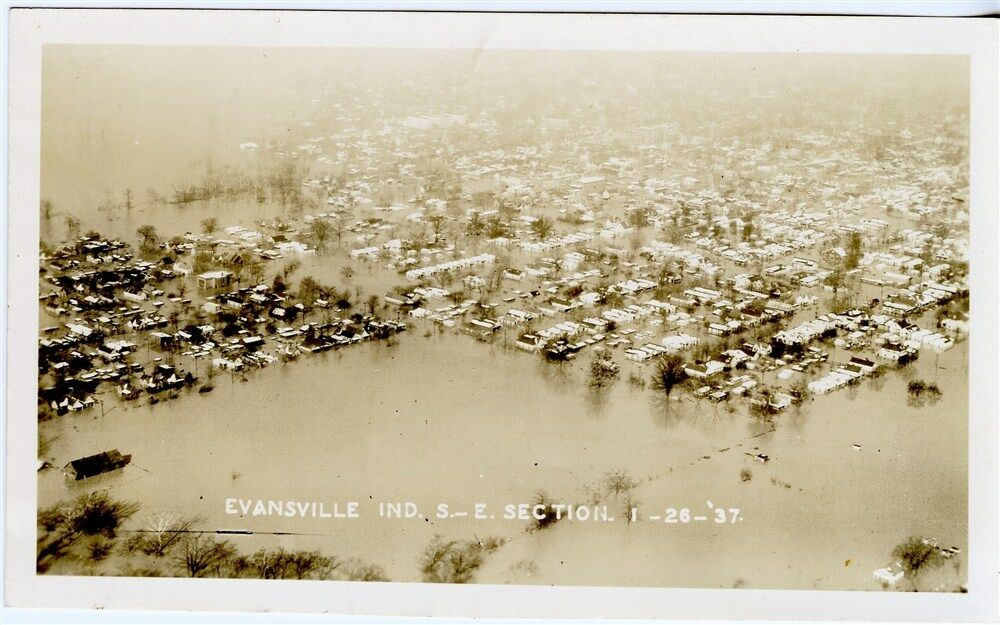 Evansville Indiana IN Old 1937 Flood Photograph Vanderburgh County Aerial Photo EBay